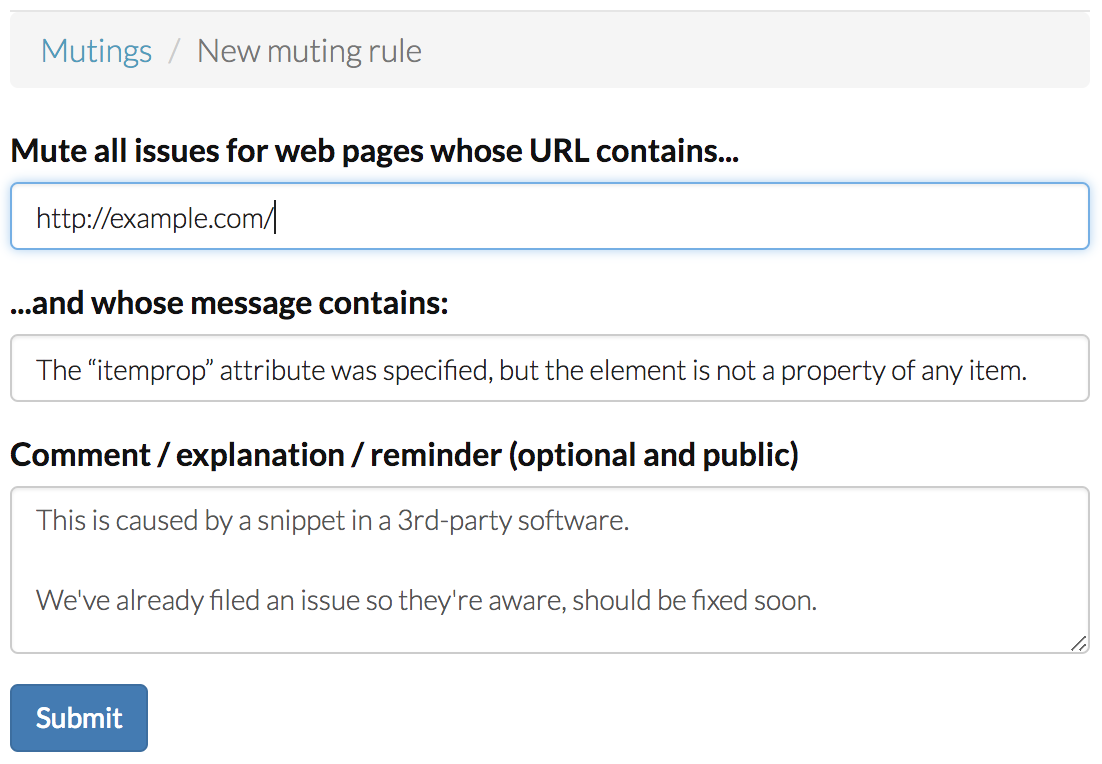 Muting rule form